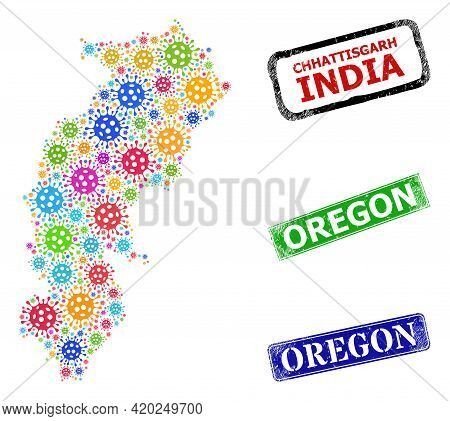 Vector Coronavirus Collage Chhattisgarh State Map, And Grunge Oregon Seal Stamps. Vector Colorful Ch
