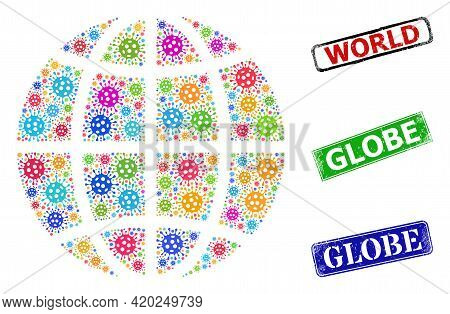 Vector Contagious Collage Planet Globe, And Grunge Globe Seals. Vector Multi-colored Planet Globe Co