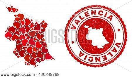 Mosaic Valencia Province Map Composed With Red Love Hearts, And Rubber Badge. Vector Lovely Round Re