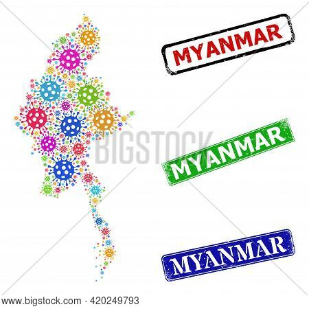 Vector Covid-2019 Collage Myanmar Map, And Grunge Myanmar Seal Stamps. Vector Colored Myanmar Map Mo