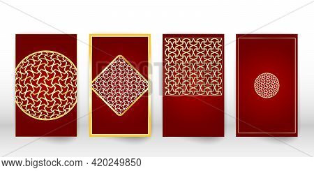Arabic Pattern Cover Set. Layout Design In Arabic Style Mosaic. Islamic Pattern Template.