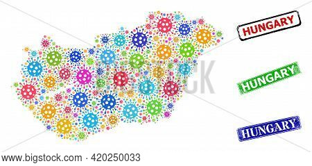 Vector Cell Collage Hungary Map, And Grunge Hungary Seal Stamps. Vector Colorful Hungary Map Collage