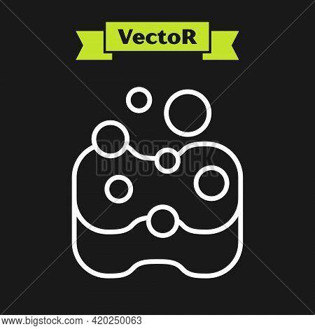 White Line Sponge Icon Isolated On Black Background. Wisp Of Bast For Washing Dishes. Cleaning Servi