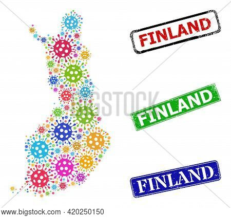Vector Bacilla Mosaic Finland Map, And Grunge Finland Seal Stamps. Vector Multi-colored Finland Map