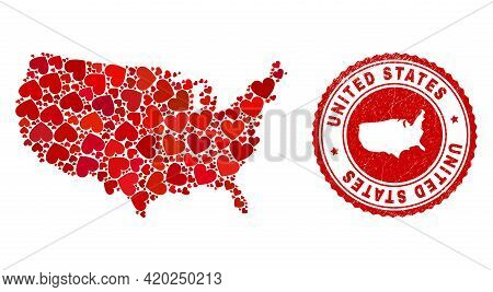 Mosaic United States Map Composed With Red Love Hearts, And Unclean Seal Stamp. Vector Lovely Round