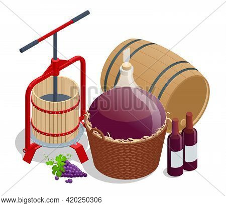 Isometric Wine Production, Crushing And Pressing Grapes, Aging And Bottling Concept. Grape Harvest W
