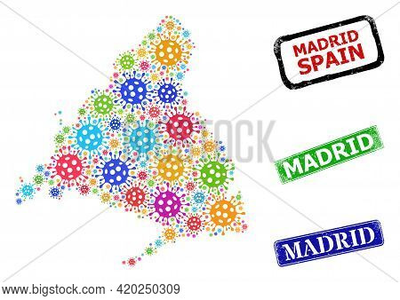 Vector Infection Mosaic Madrid Province Map, And Grunge Madrid Seal Stamps. Vector Multi-colored Mad