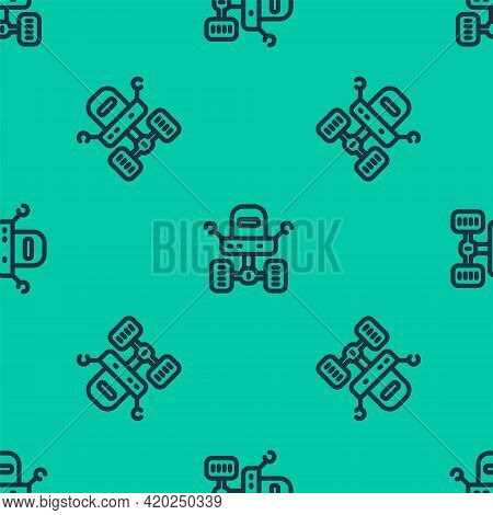 Blue Line Mars Rover Icon Isolated Seamless Pattern On Green Background. Space Rover. Moonwalker Sig