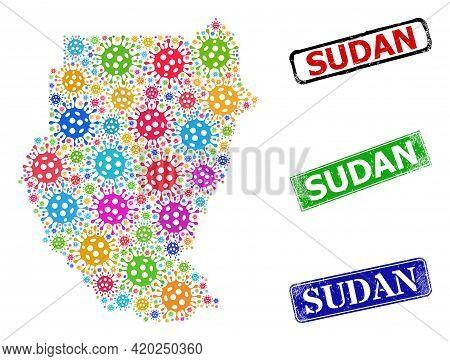 Vector Viral Mosaic Sudan Map, And Grunge Sudan Seals. Vector Multi-colored Sudan Map Mosaic, And Su
