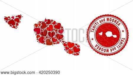 Collage Tahiti And Moorea Islands Map Created With Red Love Hearts, And Corroded Seal. Vector Lovely