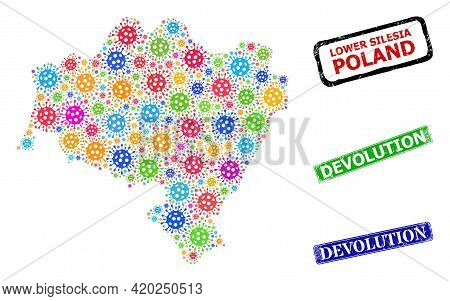 Vector Bacterium Collage Lower Silesia Province Map, And Grunge Devolution Badges. Vector Multi-colo