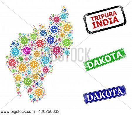 Vector Bacilla Collage Tripura State Map, And Grunge Dakota Stamps. Vector Colored Tripura State Map