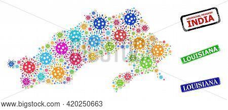 Vector Coronavirus Collage Arunachal Pradesh State Map, And Grunge Louisiana Stamps. Vector Colored