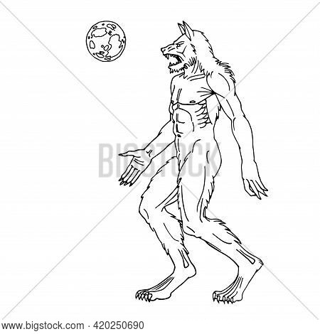 Angry Werewolf Walking Under The Moon, Fantasy Character, Spooky Monster, Vector Illustration With B