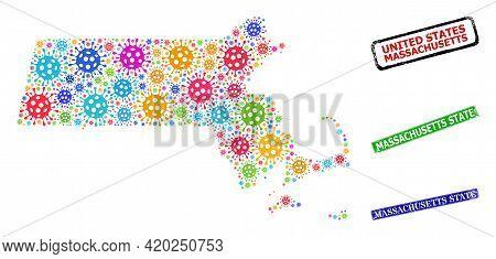 Vector Bacilla Collage Massachusetts State Map, And Grunge Massachusetts State Stamps. Vector Multi-