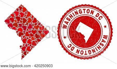 Mosaic Washington District Columbia Map Composed With Red Love Hearts, And Rubber Seal Stamp. Vector