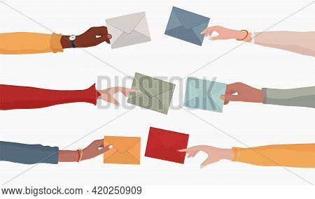 Arms And Hands Of Multiethnic People Holding An Email As A Concept Of Electronic Mail Information An