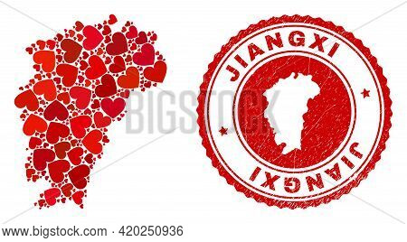 Mosaic Jiangxi Province Map Formed With Red Love Hearts, And Unclean Stamp. Vector Lovely Round Red