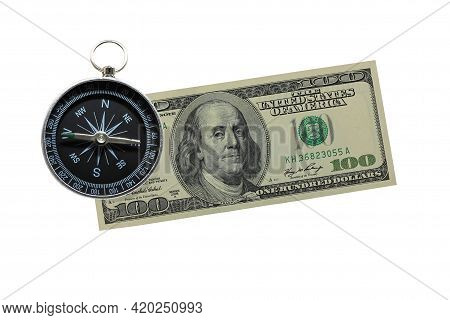 Round Compass On Paper Dollar Isolated On White Background With Place For Text As Symbol Of Tourism