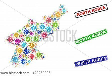 Vector Bacterium Mosaic North Korea Map, And Grunge North Korea Seal Stamps. Vector Multi-colored No