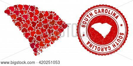 Mosaic South Carolina State Map Composed With Red Love Hearts, And Grunge Badge. Vector Lovely Round