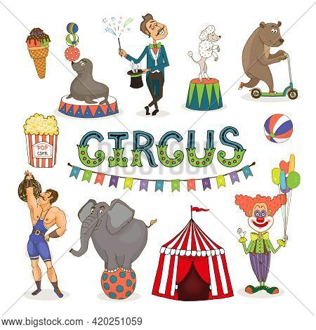 Colorful Vector Circus  Funfair And Fairground Icon Set With An Ice Cream   Balancing Seal  Poodle A