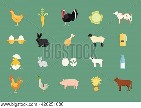 Colorful Set Of Vector Farm Animals And Produce With Hen And Egg  Carrot  Turkey  Cabbage  Dairy And