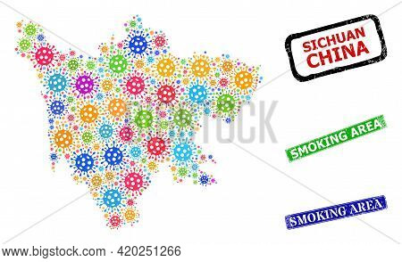 Vector Bacilla Mosaic Sichuan Province Map, And Grunge Smoking Area Stamps. Vector Multi-colored Sic