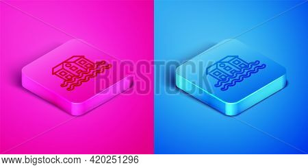 Isometric Line House Flood Icon Isolated On Pink And Blue Background. Home Flooding Under Water. Ins