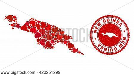 Mosaic New Guinea Map Formed With Red Love Hearts, And Dirty Seal Stamp. Vector Lovely Round Red Rub