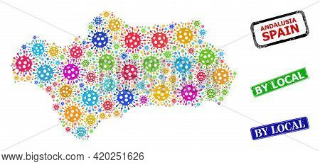 Vector Viral Mosaic Andalusia Province Map, And Grunge By Local Seal Stamps. Vector Colored Andalusi