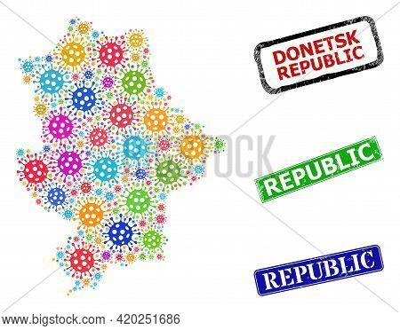 Vector Bacterium Collage Donetsk Republic Map, And Grunge Republic Seals. Vector Colored Donetsk Rep
