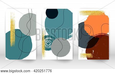 Watercolor Effect Design Cover. Hand Drawn Geometric Shapes. Doodle Lines, Golden Particles.