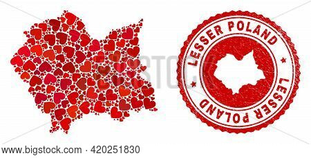 Mosaic Lesser Poland Voivodeship Map Composed With Red Love Hearts, And Grunge Seal Stamp. Vector Lo