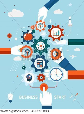 Conceptual Vector Illustration Of A Business And Entrepreneurship Business Start Or Launch With Gear