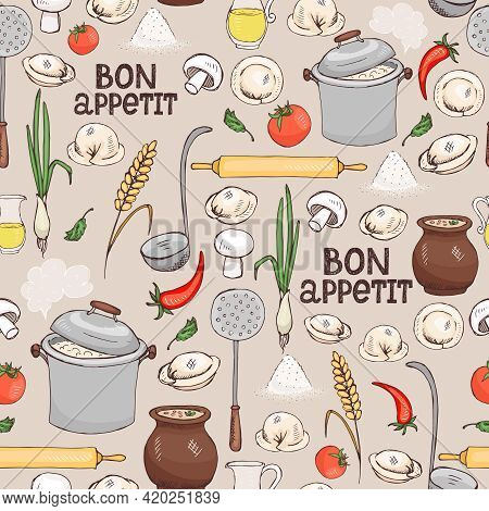 Bon Appetit Seamless Background Pattern With Scattered Ingredients And Kitchen Utensils For Making I