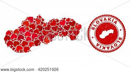 Collage Slovakia Map Composed With Red Love Hearts, And Scratched Seal Stamp. Vector Lovely Round Re