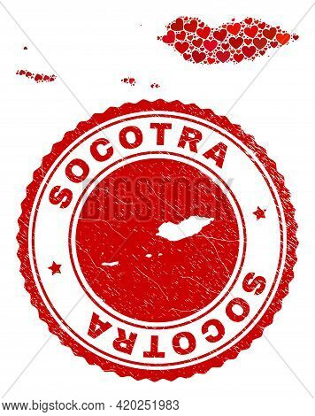 Mosaic Socotra Archipelago Map Formed With Red Love Hearts, And Rubber Seal Stamp. Vector Lovely Rou