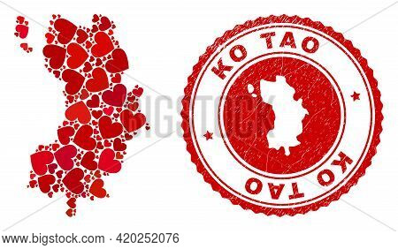 Mosaic Ko Tao Map Designed From Red Love Hearts, And Corroded Seal Stamp. Vector Lovely Round Red Ru