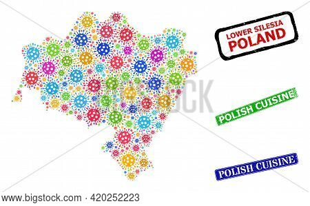 Vector Cell Mosaic Lower Silesian Voivodeship Map, And Grunge Polish Cuisine Seals. Vector Multi-col