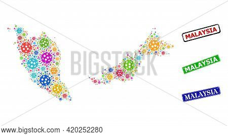 Vector Virulent Collage Malaysia Map, And Grunge Malaysia Seals. Vector Multi-colored Malaysia Map M