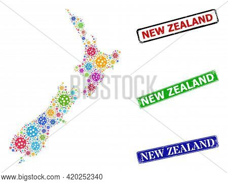 Vector Bacilla Collage New Zealand Map, And Grunge New Zealand Seal Stamps. Vector Colorful New Zeal
