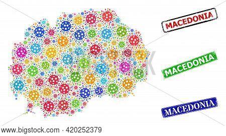 Vector Contagious Mosaic Macedonia Map, And Grunge Macedonia Stamps. Vector Colored Macedonia Map Mo