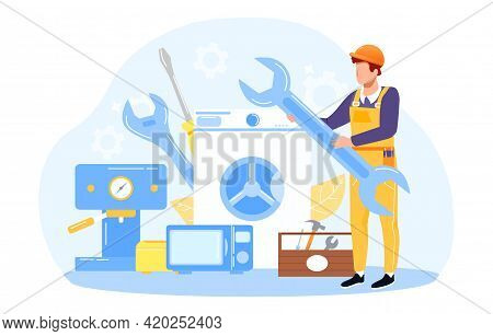 Home Master In Yellow Working Outfit Holding Wrench Ready To Do Minor Repair. Flat Abstract Metaphor