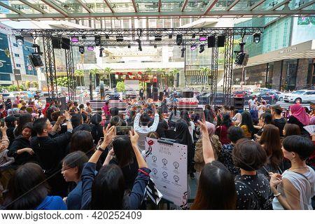KUALA LUMPUR, MALAYSIA - JANUARY 18, 2020: atmosphere on Sephora grand opening day at Fahrenheit 88 shopping mall in Kuala Lumpur.