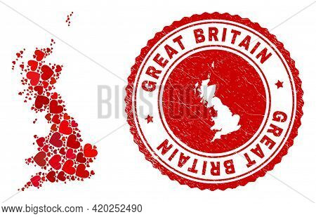 Collage Great Britain Map Composed With Red Love Hearts, And Grunge Stamp. Vector Lovely Round Red R