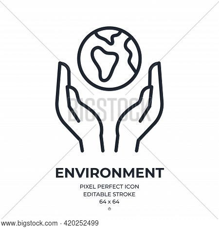 Environment And Ecology Concept. Hands Holding Planet Earth Editable Stroke Outline Icon Isolated On