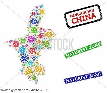 Vector Bacterium Mosaic Ningxia Hui Region Map, And Grunge Naturist Zone Seals. Vector Colored Ningx
