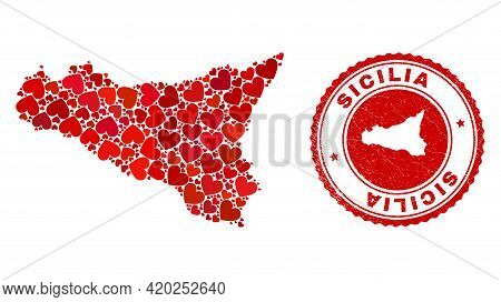 Mosaic Sicilia Map Composed From Red Love Hearts, And Grunge Seal Stamp. Vector Lovely Round Red Rub