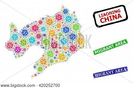 Vector Virus Collage Liaoning Province Map, And Grunge Migrant Area Stamps. Vector Vibrant Liaoning